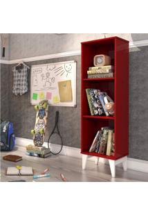 Estante Livreiro 2 Prateleiras Retrô Twister Tcil Móveis Vermelho