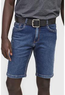Bermuda Jeans Dudalina Reta Pespontos Azul