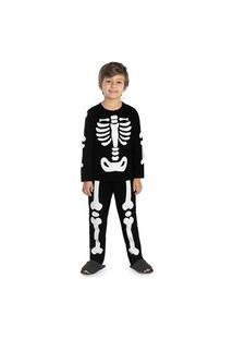 Pijama Infantil Masculino Esqueleto Rovitex Kids Preto