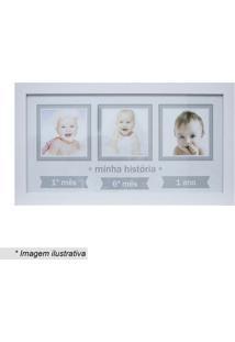 Painel Baby Decor Trãªs Fotos- Branco & Cinza- 24X44Xkapos