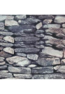 Kit 4 Rolos De Papel De Parede Fwb Lavável 3D Pedra Rustico Cinza - Kanui