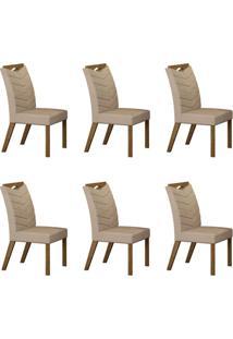 Conjunto Com 6 Cadeiras Verona Ipê E Veludo Palha