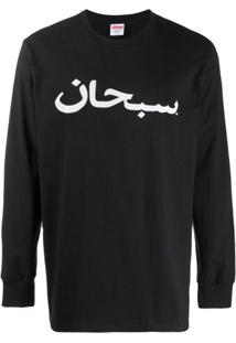 Supreme Camiseta Mangas Longas Com Logo - Preto
