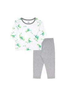 Pijama Bebê Masculino Meia Malha Camiseta Manga Longa Dinos E Calça Cinza (1/2/3) - Kappes - Tamanho 3 - Cinza