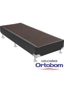 Box Solteiro - Corino Cinza - Ortobom - 88X188X23