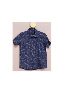 Camisa Social Teodoro Mc Infantil Estampa Gaivotas Casual Marinho 8 Azul Marinho