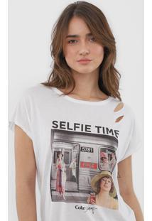 Camiseta Coca-Cola Jeans Amarração Branca