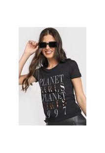Camiseta Planet Girls Lettering Metalizado Preta