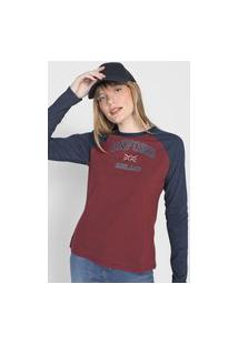 Camiseta Enfim Raglan Oxford Vinho/Azul-Marinho