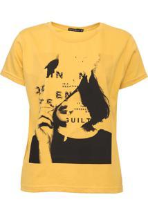 Camiseta Fiveblu Aplicações Amarela