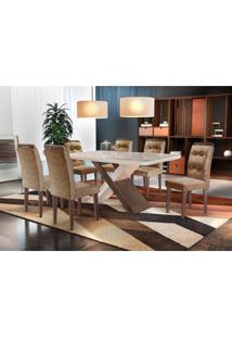 Conjunto De Mesa De Jantar Com 6 Cadeiras Imperatriz Suede Chocolate Com Café E Off White