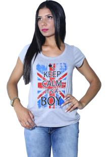 Camiseta Heide Ribeiro Keep Calm It'S A Boy Cinza Mescla
