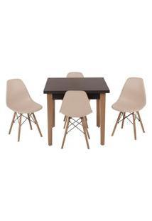 Conjunto Mesa De Jantar Luiza 80Cm Preta Com 4 Cadeiras Eames Eiffel - Nude