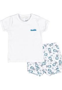 Conjunto Rotativo Bebê Menino Ribanas - Masculino-Branco