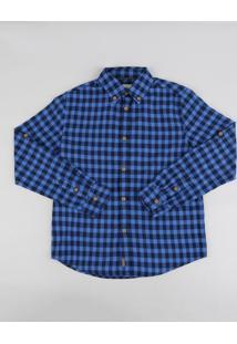 Camisa Infantil Estampada Xadrez Manga Longa Azul Royal