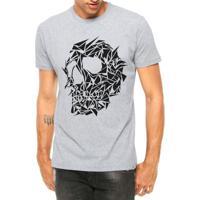 9f19b904dd Camiseta Criativa Urbana Caveira Assimétrica Tattoo Manga Curta - Masculino -Cinza