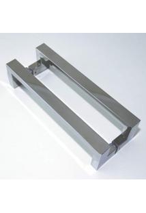 Puxador Para Porta Duplo Em Inox Tokyo 80Cm Geris Prata