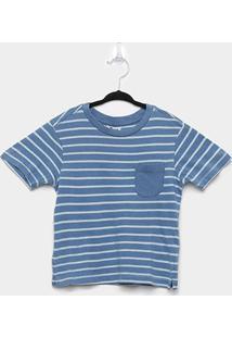Camiseta Infantil Trick Nick- Meia Malha Fio Denim Masculina - Masculino-Azul+Branco