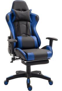 Cadeira De Escritório Presidente Reclinável Gamer Suíça Preta E Azul