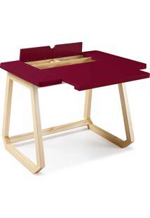 Mesa Para Escritório - Escrivaninha De Madeira Maciça Bordo Hush 94X77,5X73,5Cm - Taeda E Cor Bordo