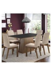 Conjunto Sala De Jantar Madesa Rebeca Mesa Tampo De Madeira Com 6 Cadeiras Rustic/Preto/Fendi