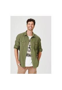 Camisa Hering Sarja Regular Com Bolsos Verde