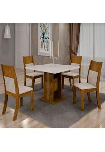 Mesa De Jantar Invicta 0,90M Com Vidro Offwhite + 4 Cadeiras Invicta Veludo Palhada - Canela