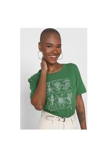 Camiseta Cantão Jardim Tropical Verde/Branca