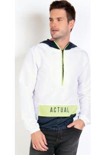 Casaco Actual Anorak Branco Com Detalhes Neon