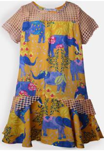 Vestido Mini Cherie Petit Elephant Estampado Laranja