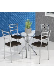 Conjunto De Mesa De Cozinha Com Tampo De Vidro Beatrice I E 4 Cadeiras Cacau
