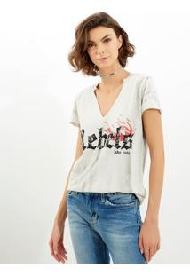 Camiseta John John Rebels Malha Off White Feminina (Off White, G)
