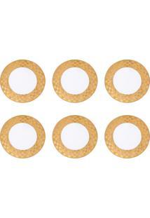 Jogo 6 Pratos Para Sobremesa Wolff Vera Gold Branco E Dourado