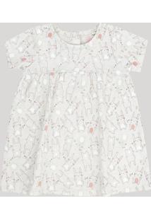 Vestido Infantil Estampado De Coelhinhas Manga Curta Decote Redondo Cinza Mescla Claro