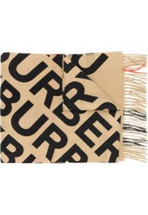 Burberry Cachecol De Cashmere Xadrez Com Estampa De Logo - Marrom