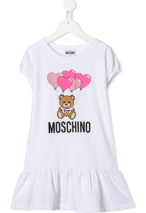 Moschino Kids Vestido Estampa De Logo - Branco