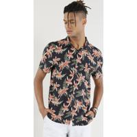 53ddb34e26 Camisa Masculina Estampada Floral Manga Curta Preta