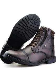 Bota Casual Touro Boots Furos Zíper Café - Kanui