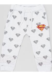 Calça Infantil Super Homem Estampada Em Moletom Com Bolsos Cinza Mescla