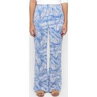 1f1967e14 Calça Forum Pantalona Estampada - Feminino-Azul+Branco