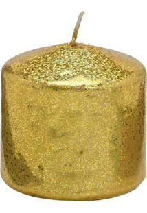 Vela Pilar Com Glitter- Dourada- 7Xã˜7,5Cm- Mabrumabruk