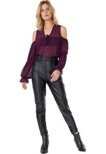 Calça Leather Cintura Alta