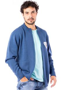 Casaco Tricot Carlan Basic Traditional Brand Blue