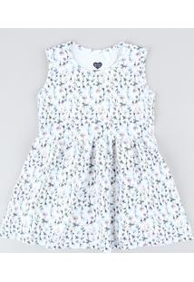 Vestido Infantil Estampado Floral Sem Manga Decote Redondo Off White
