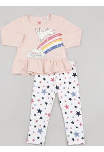 Conjunto Infantil Coelho E Arco-Íris De Blusa Manga Longa Rosa + Calça Estampada De Estrelas Branca