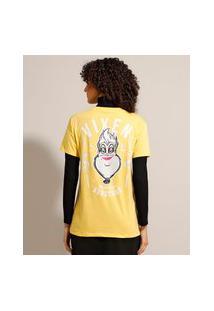 Camiseta De Algodão Úrsula Manga Curta Decote Redondo Amarela
