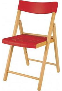 Cadeira Potenza Dobravel Natural C/Plastico Vermelha - 20567 - Sun House