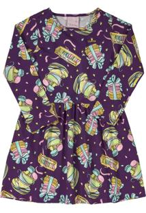 Vestido Manga Longa Em Cotton Quimby Macarons Lilás