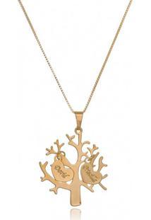 Colar Personalizado Árvore Da Vida Com Dois Pingentes De Coração Banhado Em Ouro 18K