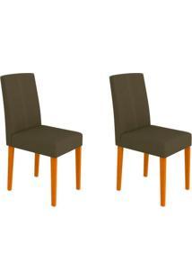 Conjunto Com 2 Cadeiras Heloíse I Ipê E Cinza